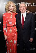 Actress Cate Blanchett and journalist Dan Rather attend the Giorgio Armani and Cinema Society screening of Sony Pictures Classics' 'Truth' at Museum...