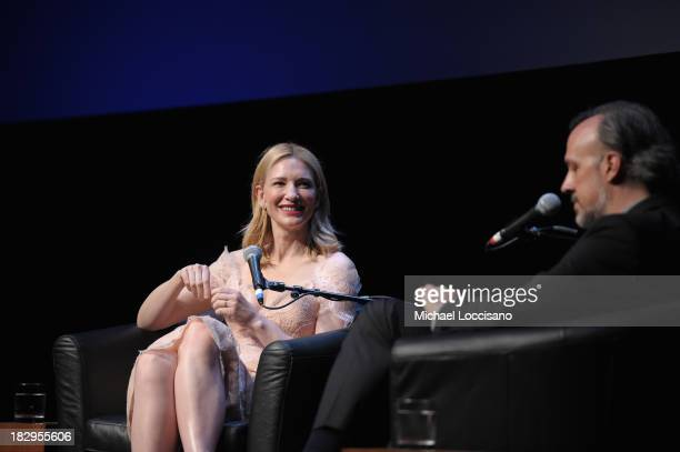 Actress Cate Blanchett and Kent Jones Director of Programming for the New York Film Festival speak onstage at the Gala Tribute To Cate Blanchett...