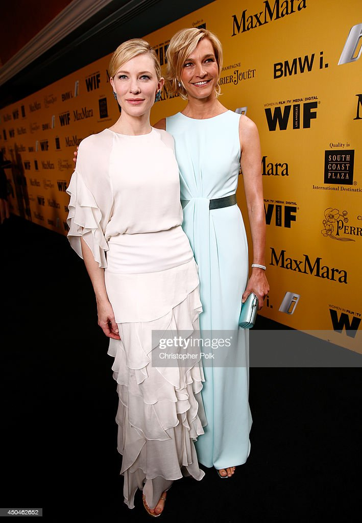 Actress <a gi-track='captionPersonalityLinkClicked' href=/galleries/search?phrase=Cate+Blanchett&family=editorial&specificpeople=201621 ng-click='$event.stopPropagation()'>Cate Blanchett</a> (L) and Max Mara Global Brand Ambassador <a gi-track='captionPersonalityLinkClicked' href=/galleries/search?phrase=Nicola+Maramotti&family=editorial&specificpeople=589561 ng-click='$event.stopPropagation()'>Nicola Maramotti</a> attend Women In Film 2014 Crystal + Lucy Awards presented by MaxMara, BMW, Perrier-Jouet and South Coast Plaza held at the Hyatt Regency Century Plaza on June 11, 2014 in Los Angeles, California.