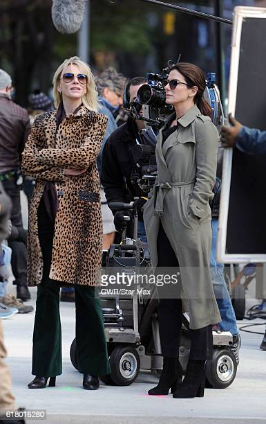 Actress Cate Blanchett and Sandra Bullock are seen on October 25 2016 on the set of 'Ocean's 8' in New York City