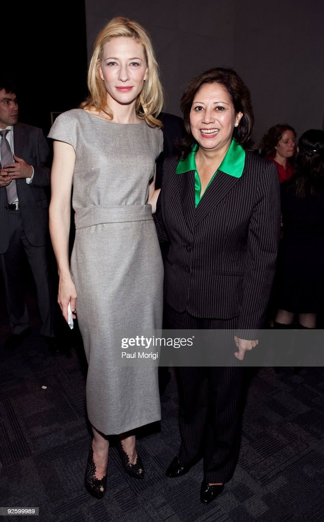 Actress Cate Blanchett and The Hon Hilda L Solis Secretary of Labor attend the 'A Street Car Named Desire' Opening Night Reception hosted by the...