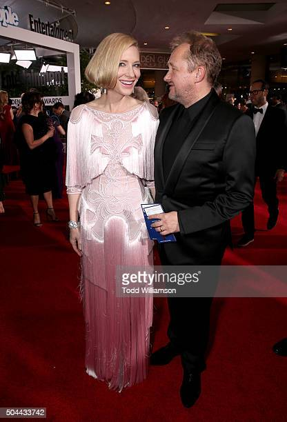 Actress Cate Blanchett and writer/producer Andrew Upton attends the 73rd Annual Golden Globe Awards at The Beverly Hilton Hotel on January 10 2016 in...