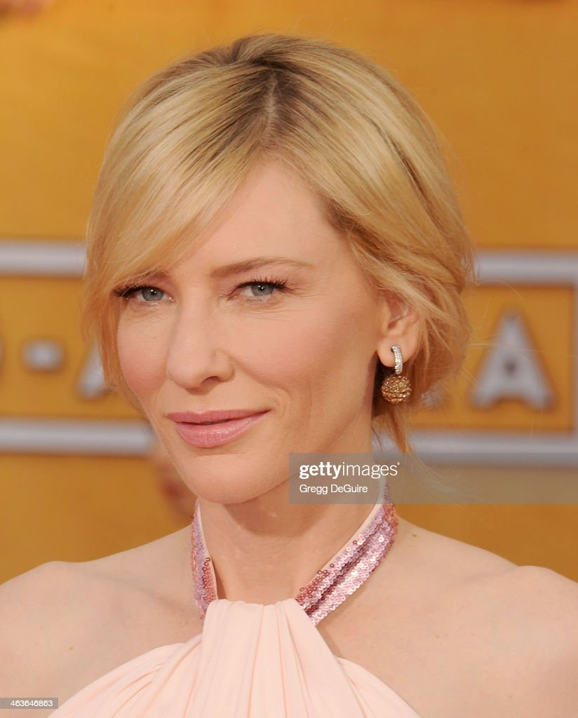 Actress <a gi-track='captionPersonalityLinkClicked' href=/galleries/search?phrase=Cate+Blanchett&family=editorial&specificpeople=201621 ng-click='$event.stopPropagation()'>Cate Blanchett</a> arrives at the 20th Annual Screen Actors Guild Awards at The Shrine Auditorium on January 18, 2014 in Los Angeles, California.