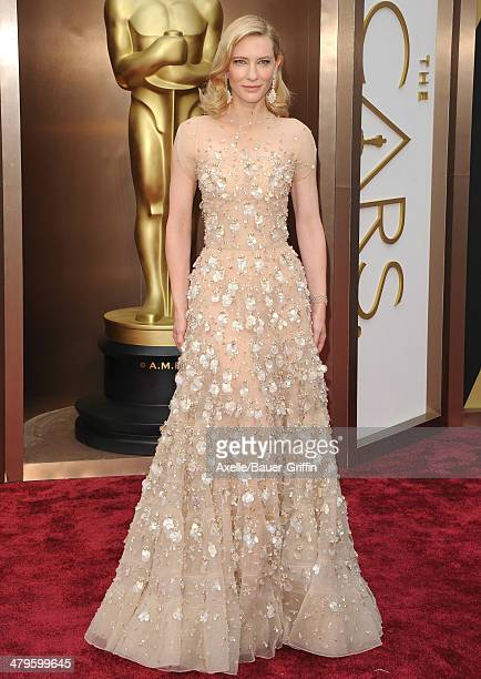 Actress Cate Blanchett arrives at the 86th Annual Academy Awards at Hollywood Highland Center on March 2 2014 in Hollywood California
