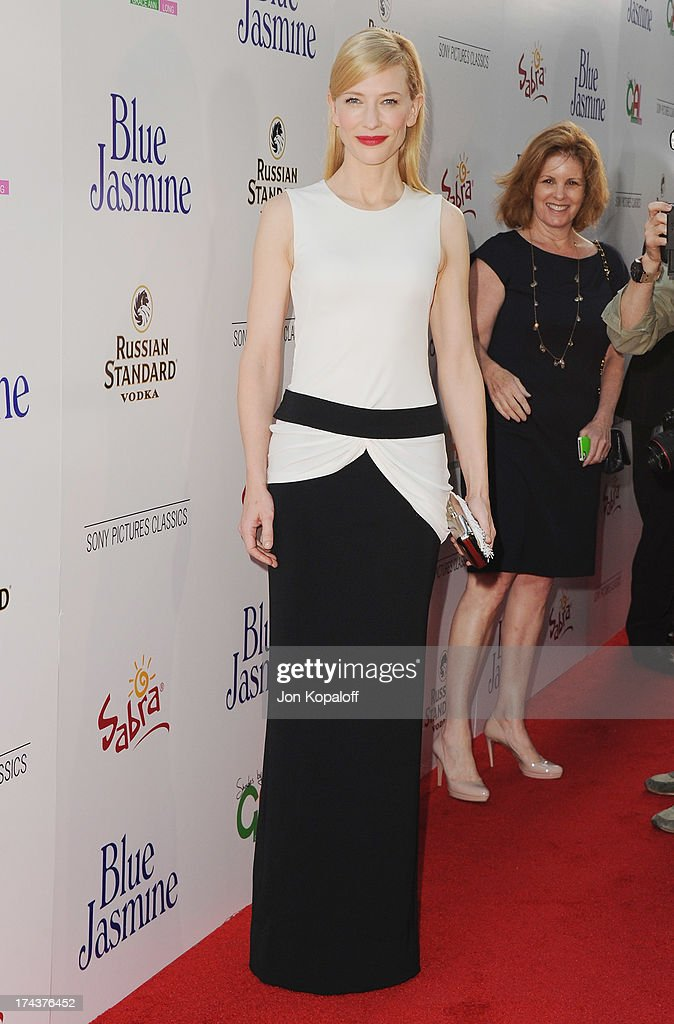 Actress <a gi-track='captionPersonalityLinkClicked' href=/galleries/search?phrase=Cate+Blanchett&family=editorial&specificpeople=201621 ng-click='$event.stopPropagation()'>Cate Blanchett</a> arrives at the Los Angeles Premiere 'Blue Jasmine' at the Academy of Motion Picture Arts and Sciences on July 24, 2013 in Beverly Hills, California.