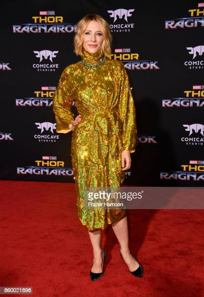 Actress Cate Blanchett arrives at the Premiere Of Disney And Marvel's 'Thor Ragnarok' on October 10 2017 in Los Angeles California