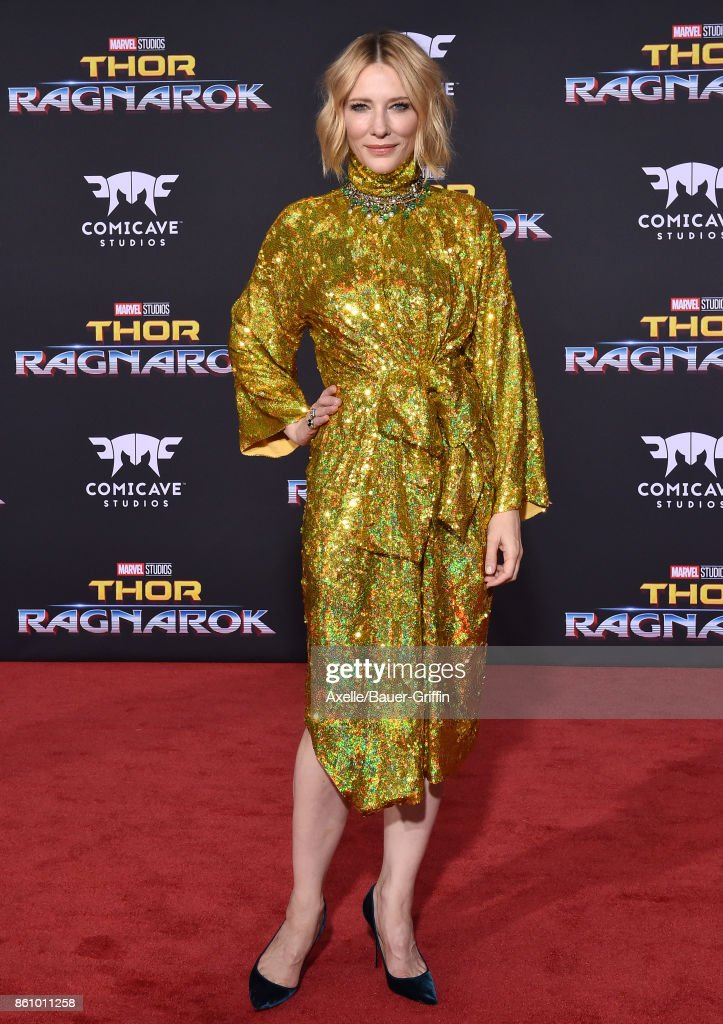 Actress Cate Blanchett arrives at the premiere of Disney and Marvel's 'Thor: Ragnarok' at the El Capitan Theatre on October 10, 2017 in Los Angeles, California.