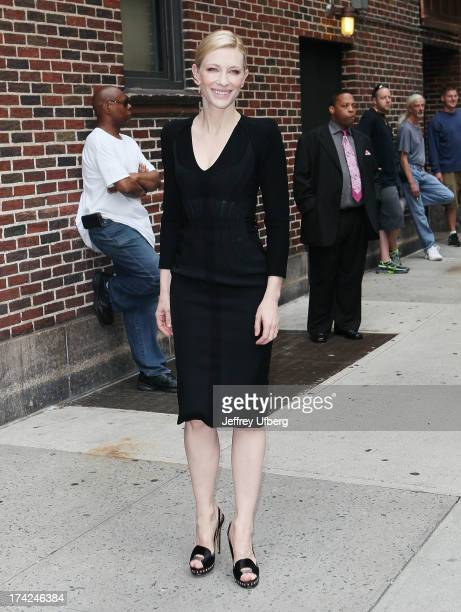 Actress Cate Blanchett arrives to 'Late Show with David Letterman' at Ed Sullivan Theater on July 22 2013 in New York City