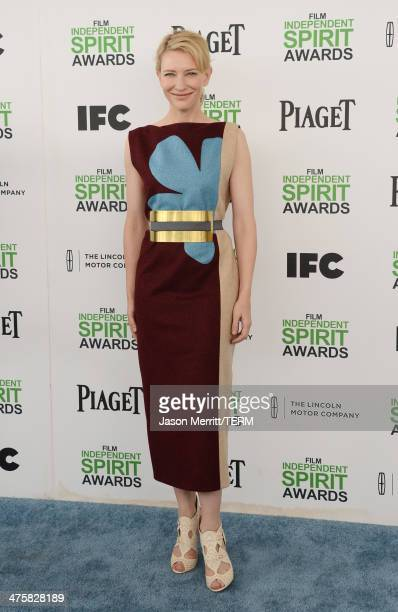 Actress Cate Blanchett attends the 2014 Film Independent Spirit Awards at Santa Monica Beach on March 1 2014 in Santa Monica California