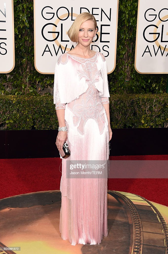 Actress <a gi-track='captionPersonalityLinkClicked' href=/galleries/search?phrase=Cate+Blanchett&family=editorial&specificpeople=201621 ng-click='$event.stopPropagation()'>Cate Blanchett</a> attends the 73rd Annual Golden Globe Awards held at the Beverly Hilton Hotel on January 10, 2016 in Beverly Hills, California.