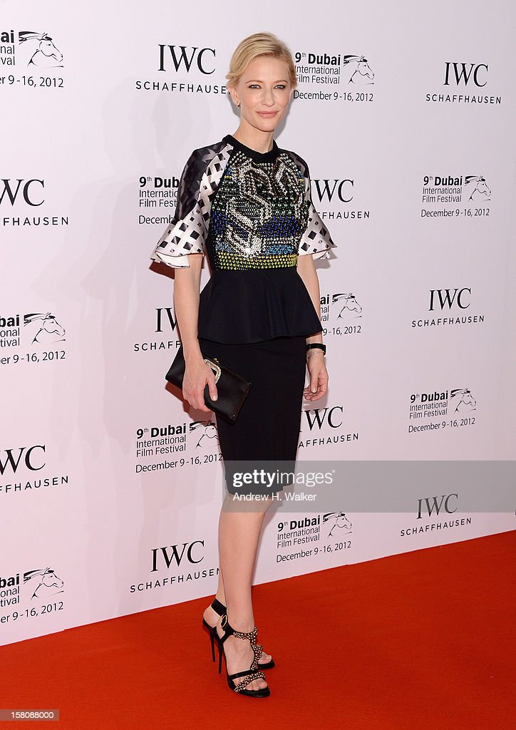 Actress <a gi-track='captionPersonalityLinkClicked' href=/galleries/search?phrase=Cate+Blanchett&family=editorial&specificpeople=201621 ng-click='$event.stopPropagation()'>Cate Blanchett</a> attends the Dubai International Film Festival and IWC Schaffhausen Filmmaker Award Gala Dinner and Ceremony at the One and Only Mirage Hotel on December 10, 2012 in Dubai, United Arab Emirates.