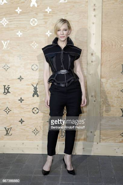 Actress Cate Blanchett attends the 'LVxKOONS' exhibition at Musee du Louvre on April 11 2017 in Paris France