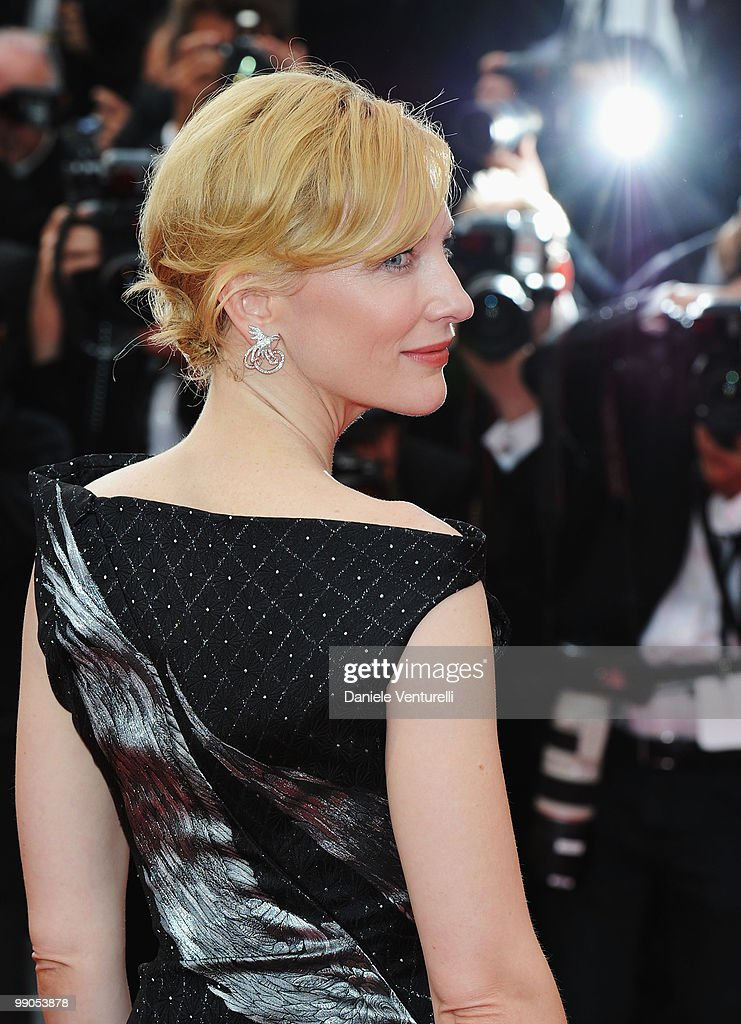Actress <a gi-track='captionPersonalityLinkClicked' href=/galleries/search?phrase=Cate+Blanchett&family=editorial&specificpeople=201621 ng-click='$event.stopPropagation()'>Cate Blanchett</a> attends the Opening Night Premiere of 'Robin Hood' at the Palais des Festivals during the 63rd Annual International Cannes Film Festival on May 12, 2010 in Cannes, France.