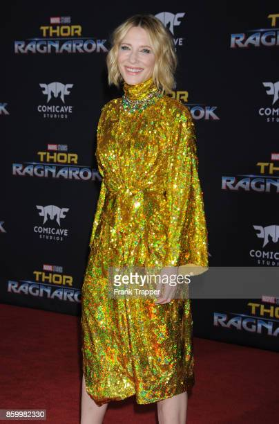 Actress Cate Blanchett attends the premiere of Disney and Marvel's 'Thor Ragnarok' on October 10 2017 at the El Capitan Theater in Hollywood...