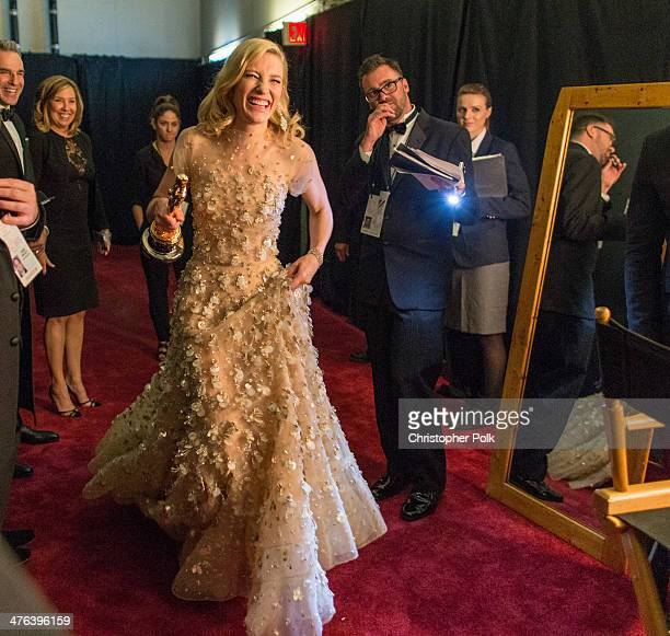 Actress Cate Blanchett backstage after winning the award for Best Actress in a Leading Role during the Oscars held at Dolby Theatre on March 2 2014...
