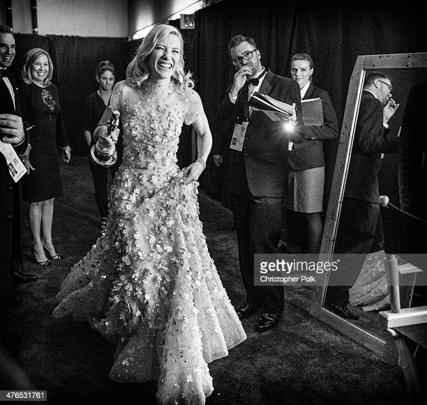 Actress Cate Blanchett backstage after winning the award for Best Actress in a Leading Role during 86th Annual Academy Awards held at Dolby Theatre...