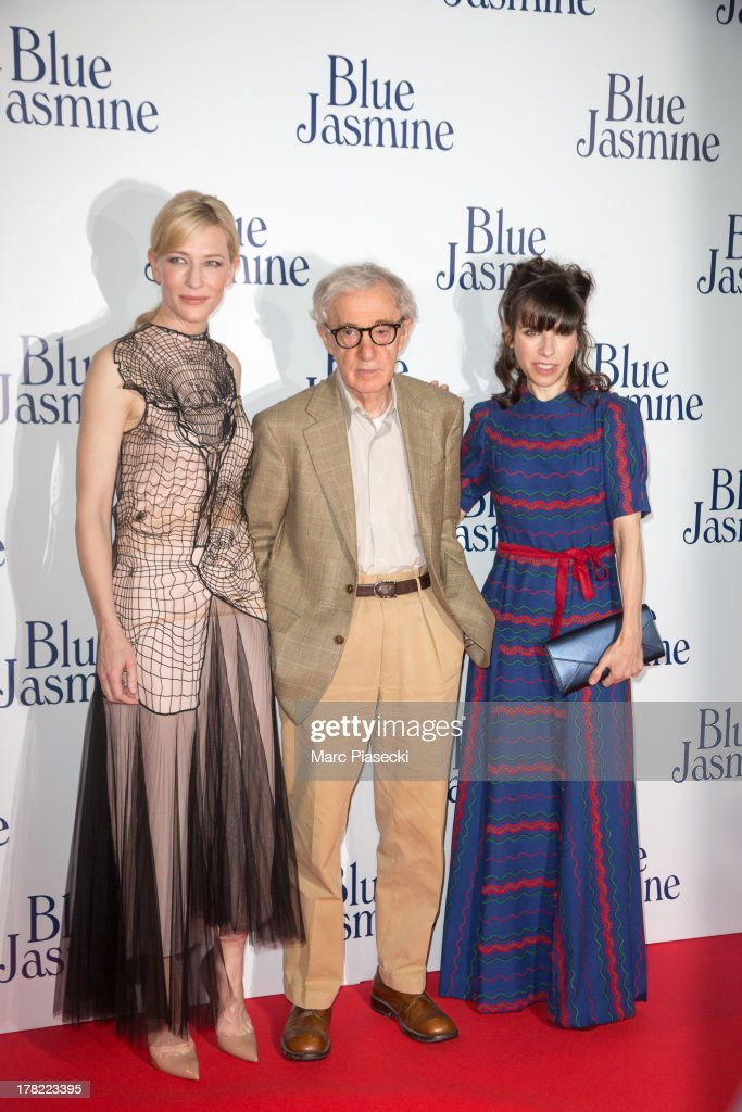 Actress Cate Blanchett, director Woody Allen and actress Sally Hawkins attend the 'Blue Jasmine' Paris premiere at UGC Cine Cite Bercy on August 27, 2013 in Paris, France.