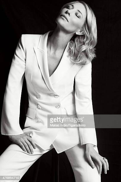 Actress Cate Blanchett is photographed for Madame Figaro on May 19 2015 at the Cannes Film Festival in Cannes France Suit Makeup by LOréal Paris...
