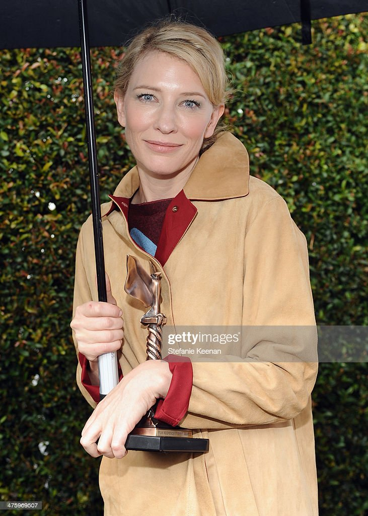 Actress <a gi-track='captionPersonalityLinkClicked' href=/galleries/search?phrase=Cate+Blanchett&family=editorial&specificpeople=201621 ng-click='$event.stopPropagation()'>Cate Blanchett</a> poses in the Piaget Lounge during the 2014 Film Independent Spirit Awards at Santa Monica Beach on March 1, 2014 in Santa Monica, California.