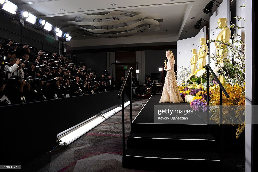 Actress <a gi-track='captionPersonalityLinkClicked' href=/galleries/search?phrase=Cate+Blanchett&family=editorial&specificpeople=201621 ng-click='$event.stopPropagation()'>Cate Blanchett</a> poses in the press room during the Oscars at Loews Hollywood Hotel on March 2, 2014 in Hollywood, California.