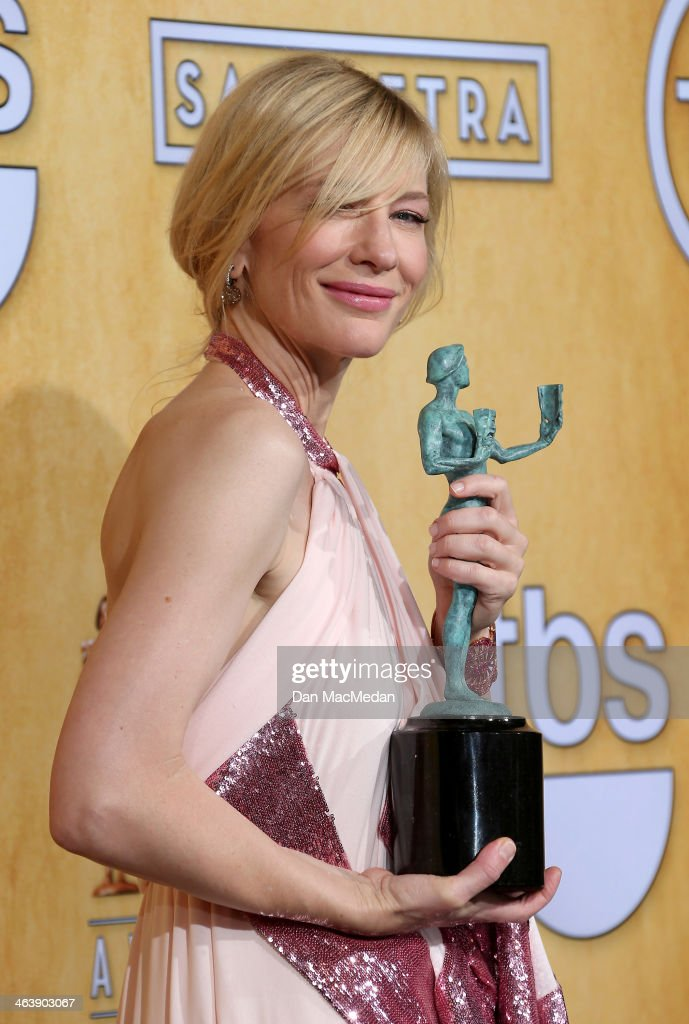 Actress Cate Blanchett poses in the press room with the award for Outstanding Performance by a Female Actor in a Leading Role for 'Blue Jasmine' at the 20th Annual Screen Actors Guild Awards at the Shrine Auditorium on January 18, 2014 in Los Angeles, California.