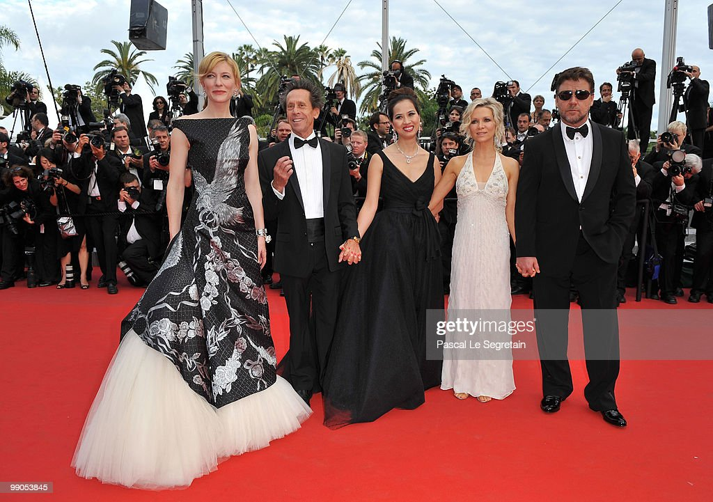 Actress Cate Blanchett, Producer Brian Grazer, Chau-Giang Thi Nguyen, Danielle Spence and actor Russell Crowe attend the 'Robin Hood' Premiere at the Palais De Festivals during the 63rd Annual Cannes Film Festival on May 12, 2010 in Cannes, France.