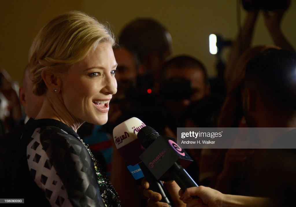 Actress <a gi-track='captionPersonalityLinkClicked' href=/galleries/search?phrase=Cate+Blanchett&family=editorial&specificpeople=201621 ng-click='$event.stopPropagation()'>Cate Blanchett</a> speaks to the media as she attends the Dubai International Film Festival and IWC Schaffhausen Filmmaker Award Gala Dinner and Ceremony at the One and Only Mirage Hotel on December 10, 2012 in Dubai, United Arab Emirates.