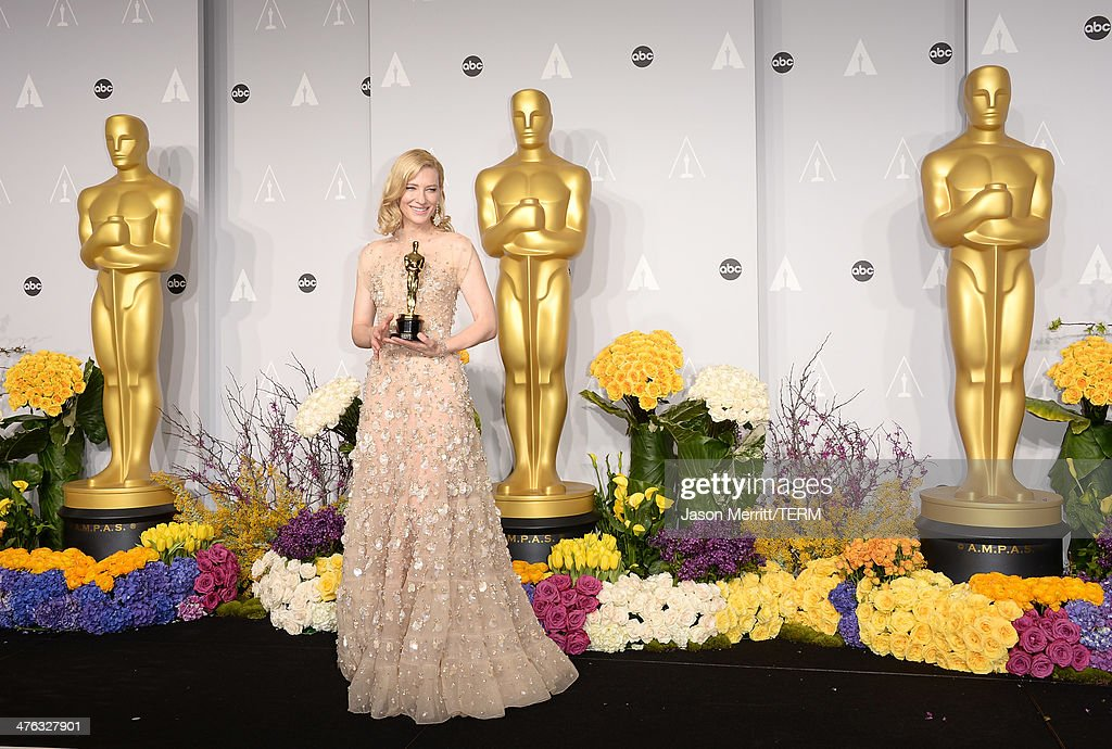 Actress <a gi-track='captionPersonalityLinkClicked' href=/galleries/search?phrase=Cate+Blanchett&family=editorial&specificpeople=201621 ng-click='$event.stopPropagation()'>Cate Blanchett</a>, winner of Best Actress for 'Blue Jasmine, poses in the press room during the Oscars at Loews Hollywood Hotel on March 2, 2014 in Hollywood, California.