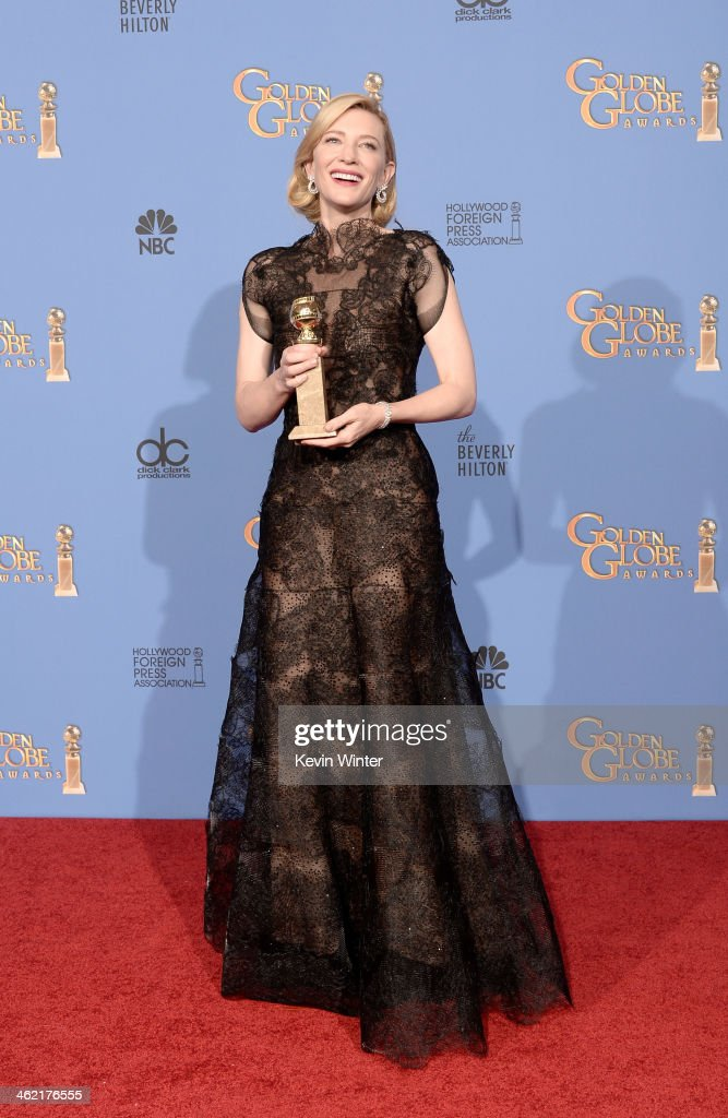 Actress Cate Blanchett winner of Best Actress in a Motion Picture Drama for 'Blue Jasmine' poses in the press room during the 71st Annual Golden...