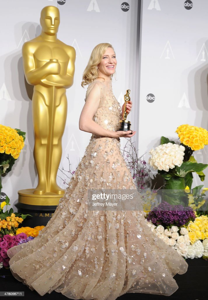 Actress <a gi-track='captionPersonalityLinkClicked' href=/galleries/search?phrase=Cate+Blanchett&family=editorial&specificpeople=201621 ng-click='$event.stopPropagation()'>Cate Blanchett</a> winner of Best Performance by an Actress in a Leading Role poses in the press room during the 86th Annual Academy Awards at Loews Hollywood Hotel on March 2, 2014 in Hollywood, California.