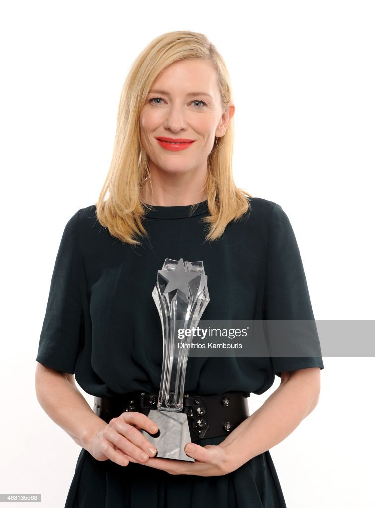 Actress <a gi-track='captionPersonalityLinkClicked' href=/galleries/search?phrase=Cate+Blanchett&family=editorial&specificpeople=201621 ng-click='$event.stopPropagation()'>Cate Blanchett</a>, winner of the Best Actress award for 'Blue Jasmine', poses for a portrait during the 19th Annual Critics' Choice Movie Awards at Barker Hangar on January 16, 2014 in Santa Monica, California.