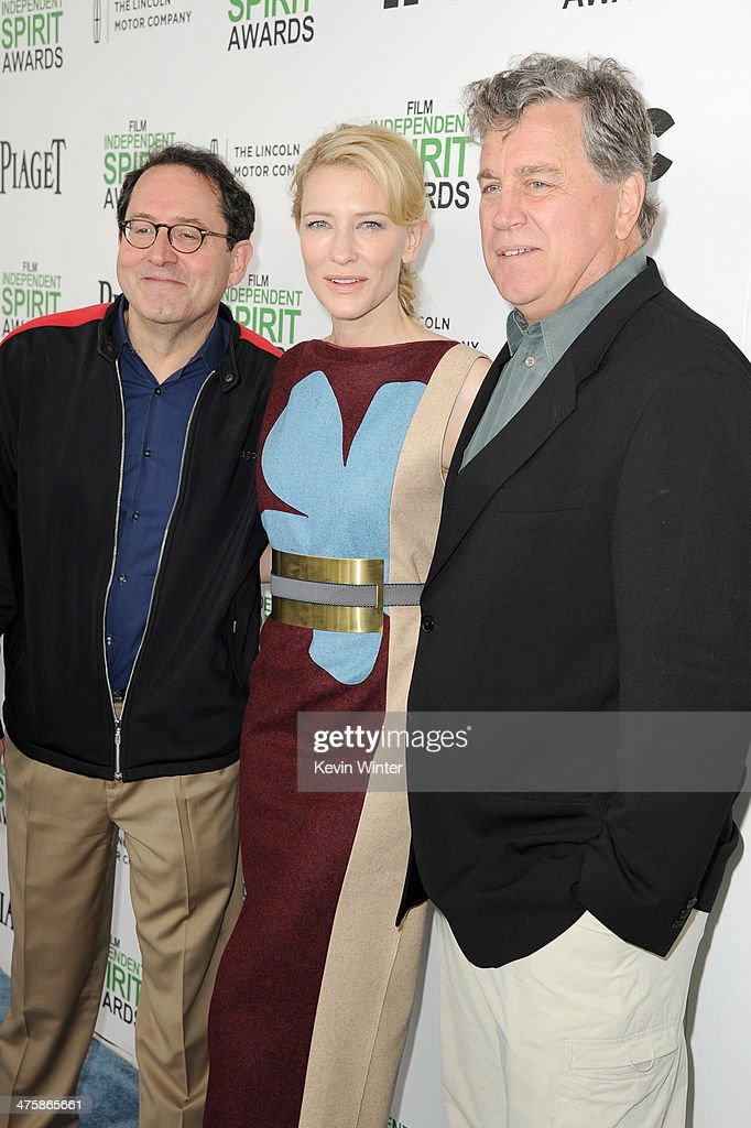 Actress Cate Blanchett (C) with Sony Pictures Classics Co-Presidents Michael Barker (L) and Tom Bernard (R) attend the 2014 Film Independent Spirit Awards at Santa Monica Beach on March 1, 2014 in Santa Monica, California.
