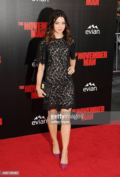 Actress Caterina Scorsone arrives at the Los Angeles premiere of 'The November Man' at TCL Chinese Theatre on August 13 2014 in Hollywood California