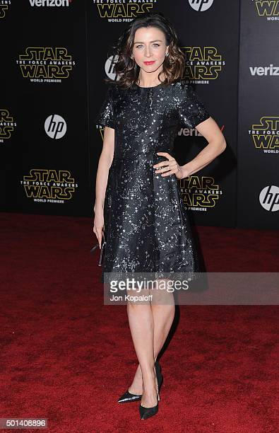 Actress Caterina Scorsone arrives at the Los Angeles Premiere 'Star Wars The Force Awakens' on December 14 2015 in Hollywood California