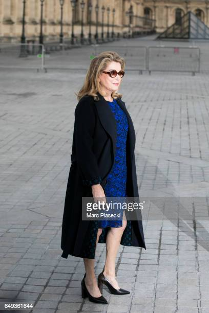 Actress Catherie Deneuve attends the Louis Vuitton show as part of the Paris Fashion Week Womenswear Fall/Winter 2017/2018 on March 7 2017 in Paris...