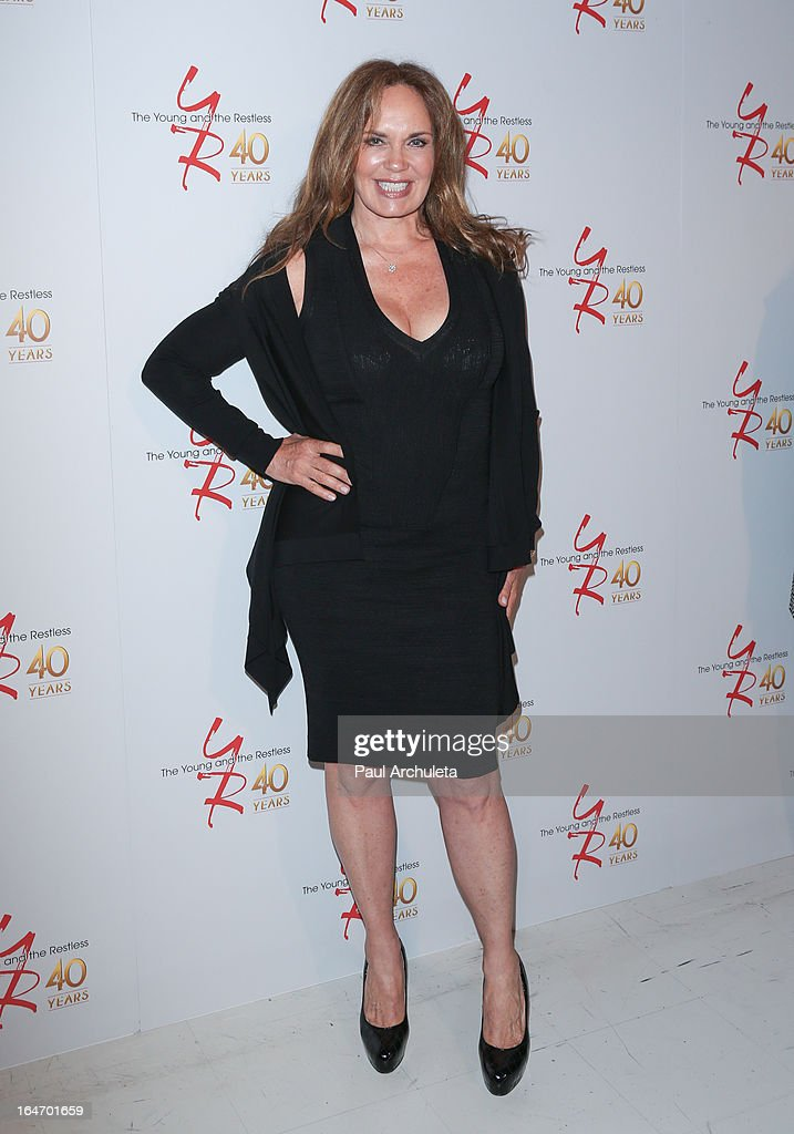 Actress Catherine Bach attends 'The Young & The Restless' 40th anniversary cake cutting ceremony at CBS Television City on March 26, 2013 in Los Angeles, California.