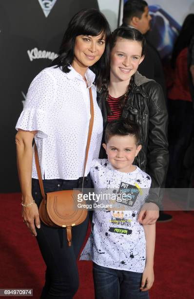 Actress Catherine Bell children Gemma Beason and Ronan Beason arrive at the premiere of Disney And Pixar's 'Cars 3' at Anaheim Convention Center on...