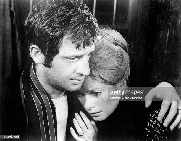 Actress Catherine Deneuve and actor JeanPaul Belmondo on set for the United Artist movie ' Mississippi Mermaid' in 1969