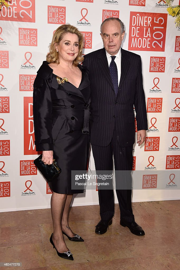 Actress catherine Deneuve (R) and <a gi-track='captionPersonalityLinkClicked' href=/galleries/search?phrase=Frederic+Mitterrand&family=editorial&specificpeople=621709 ng-click='$event.stopPropagation()'>Frederic Mitterrand</a> attend the Sidaction Gala Dinner 2015 at Pavillon d'Armenonville on January 29, 2015 in Paris, France.