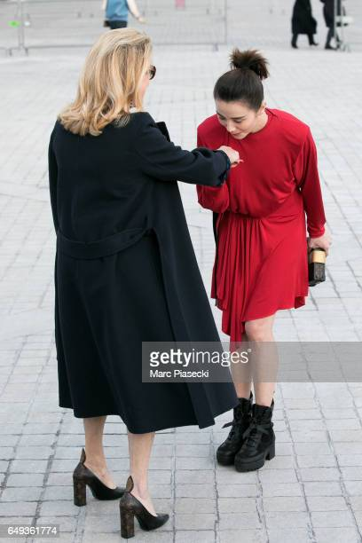 Actress Catherine Deneuve and Song Jia attend the Louis Vuitton show as part of the Paris Fashion Week Womenswear Fall/Winter 2017/2018 on March 7...