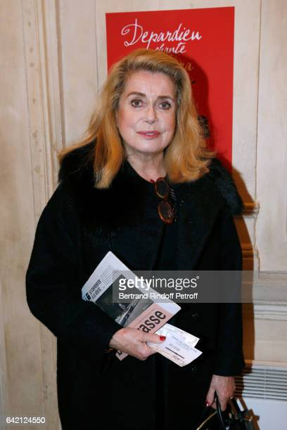 Actress Catherine Deneuve attends Gerard Depardieu sings Barbara accompanied on the piano of Barbara by Gerard Daguere who was his Pianist for more...