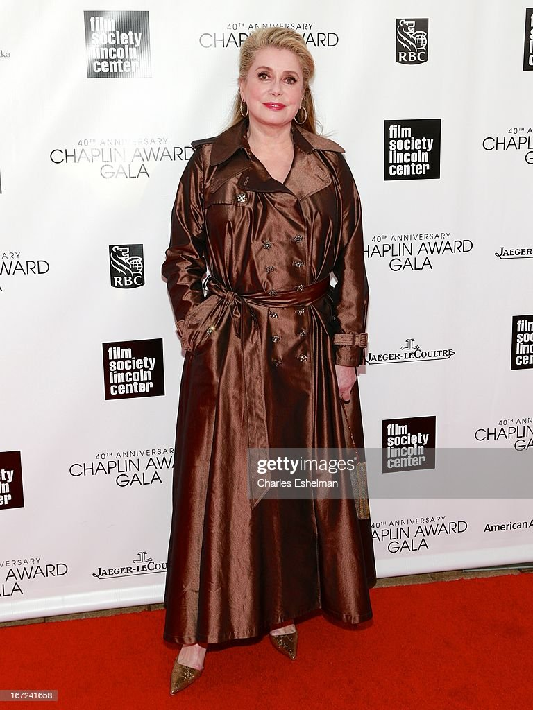 Actress <a gi-track='captionPersonalityLinkClicked' href=/galleries/search?phrase=Catherine+Deneuve&family=editorial&specificpeople=123833 ng-click='$event.stopPropagation()'>Catherine Deneuve</a> attends the 40th Anniversary Chaplin Award Gala at Avery Fisher Hall at Lincoln Center for the Performing Arts on April 22, 2013 in New York City.