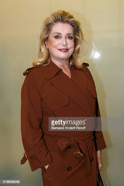 Actress catherine Deneuve attends the Jean Paul Gaultier show as part of Paris Fashion Week Haute Couture Fall/Winter 2015/2016 on July 8 2015 in...