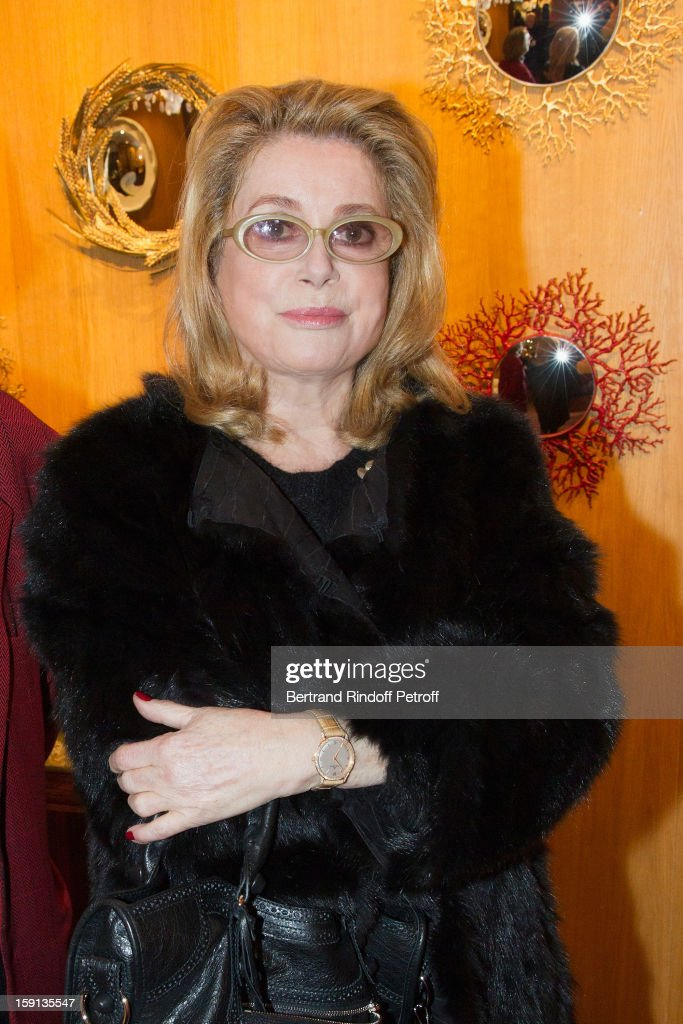 Actress Catherine Deneuve attends the 'Sorcieres' (Witches) exhibition preview at Galerie Pierre Passebon on January 8, 2013 in Paris, France.