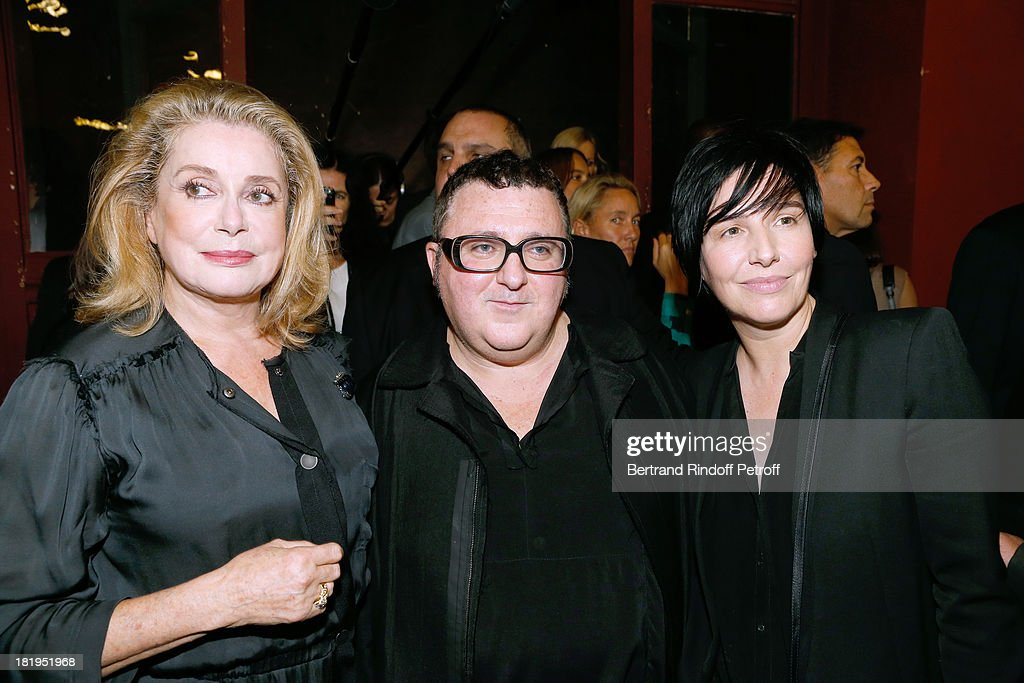 Actress <a gi-track='captionPersonalityLinkClicked' href=/galleries/search?phrase=Catherine+Deneuve&family=editorial&specificpeople=123833 ng-click='$event.stopPropagation()'>Catherine Deneuve</a>, Fashion Designer <a gi-track='captionPersonalityLinkClicked' href=/galleries/search?phrase=Alber+Elbaz&family=editorial&specificpeople=783481 ng-click='$event.stopPropagation()'>Alber Elbaz</a> and singer of group Texas, <a gi-track='captionPersonalityLinkClicked' href=/galleries/search?phrase=Sharleen+Spiteri&family=editorial&specificpeople=214718 ng-click='$event.stopPropagation()'>Sharleen Spiteri</a> after Lanvin show as part of the Paris Fashion Week Womenswear Spring/Summer 2014, held at 'Ecole des beaux Arts on September 26, 2013 in Paris, France.