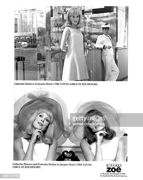Actress Catherine Deneuve on set actress Catherine Deneuve and Francoise Dorleac on set of the movie 'The Young Girls of Rochefort' circa 1967