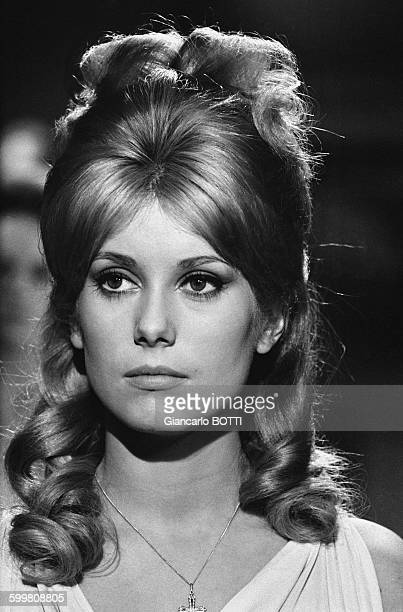 Actress Catherine Deneuve On The Set Of The Movie 'Le Vice Et La Vertu' Directed By Roger Vadim in Paris France in 1964