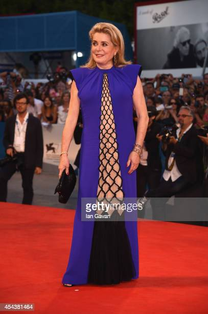 Actress Catherine Deneuve wears a JaegerLeCoultre Vintage Caliber 101 watch at the 'Three Hearts ' premiere during the 71st Venice Film Festival at...