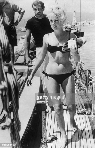 Actress Catherine Deneuve with her fiance director Roger Vadim