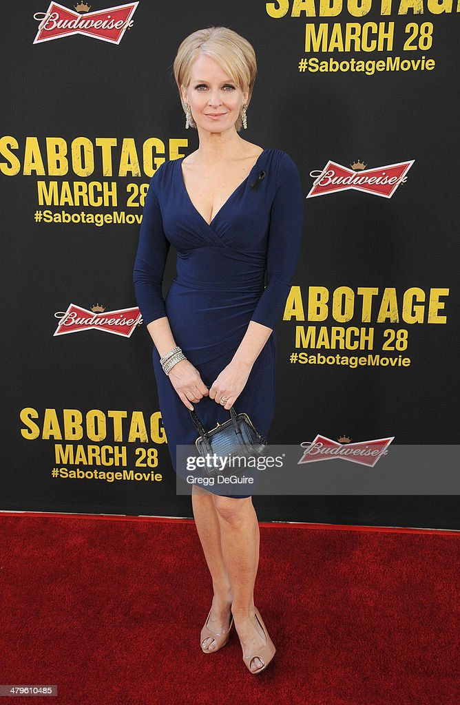 Actress Catherine Dyer arrives at the Los Angeles premiere of 'Sabotage' at Regal Cinemas L.A. Live on March 19, 2014 in Los Angeles, California.